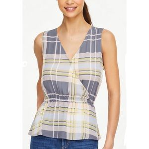 NWT LOFT plaid peplum shell top